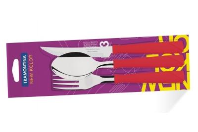 Tramontina New Kolor Набор столовых приборов  3 шт (красные) 23199/769