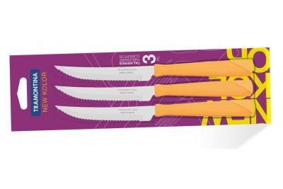 Tramontina New Kolor Ножи для стейка  3 шт (оранжевые) 23160/344